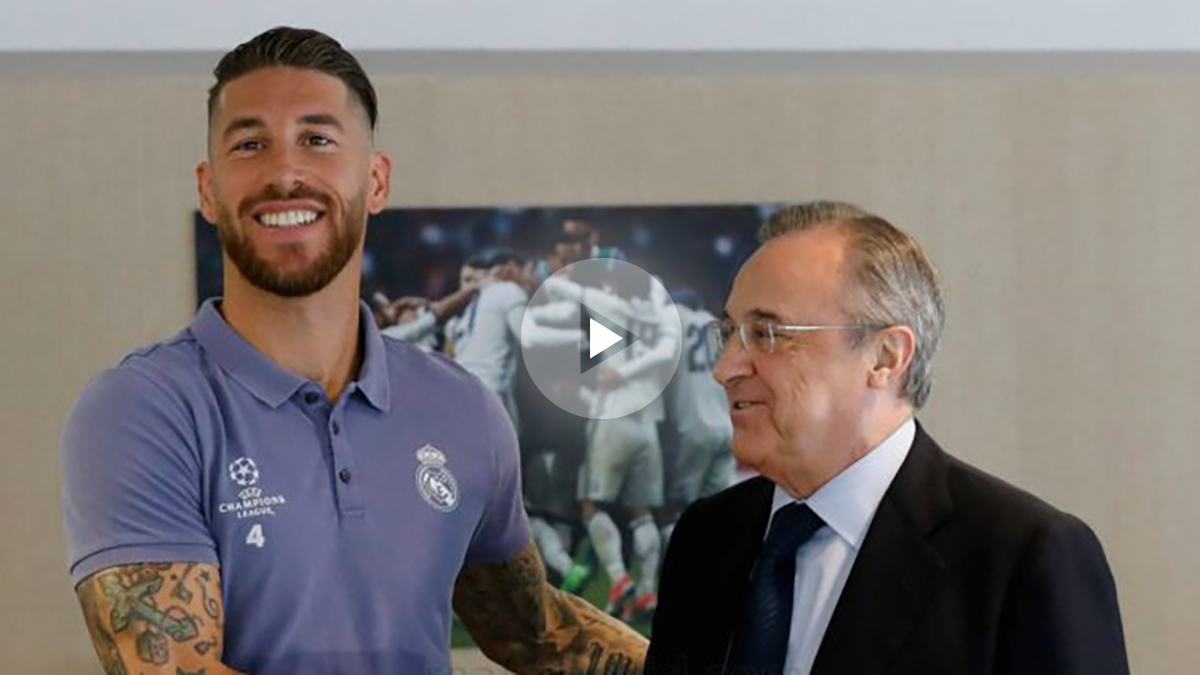 Florentino Pérez y Sergio Ramos, horas antes de la final de Champions League. (realmadrid.com)