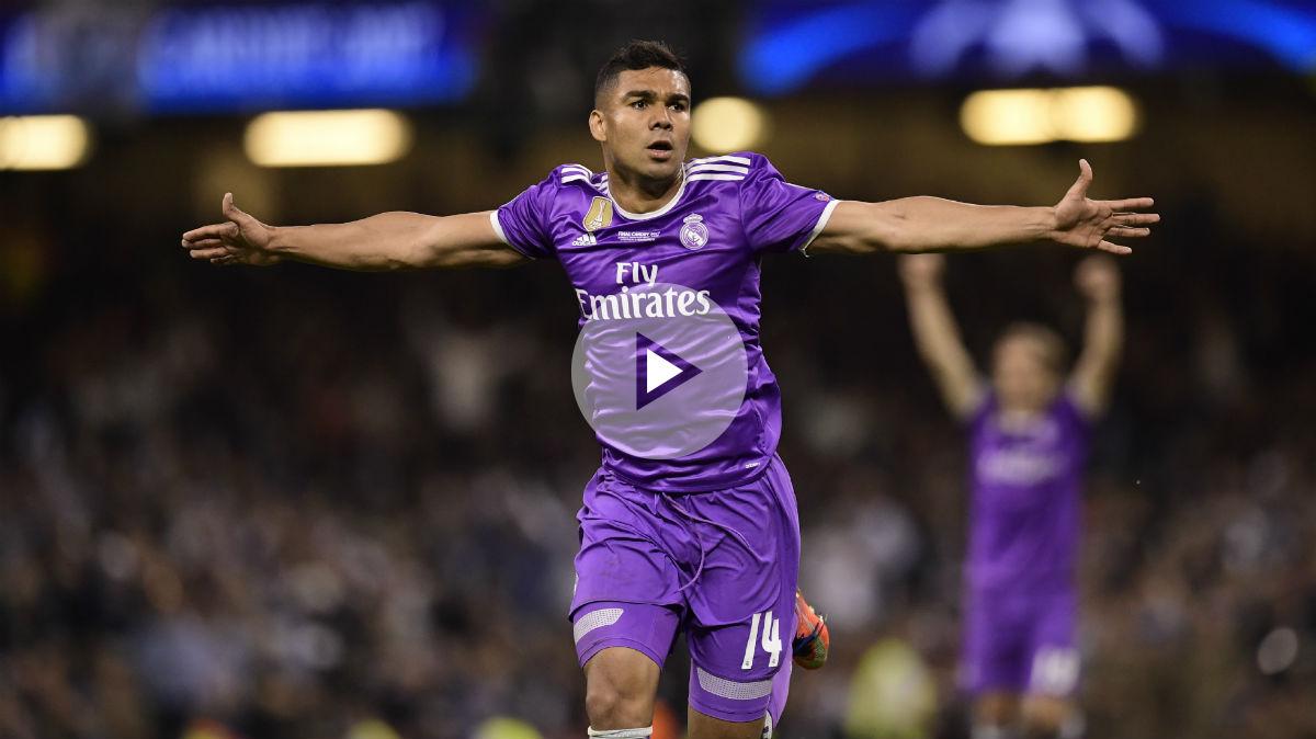 Casemiro celebra su gol en la final de la Champions. (AFP)