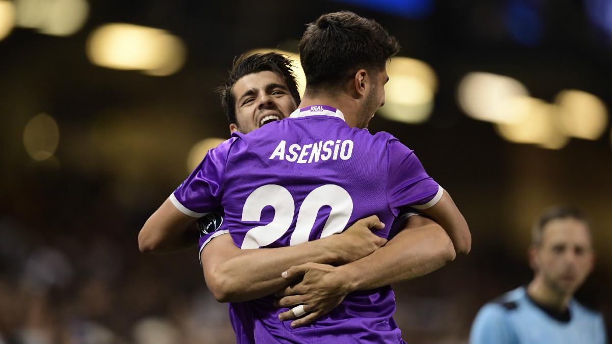 Morata celebra el gol de Asensio. (AFP)