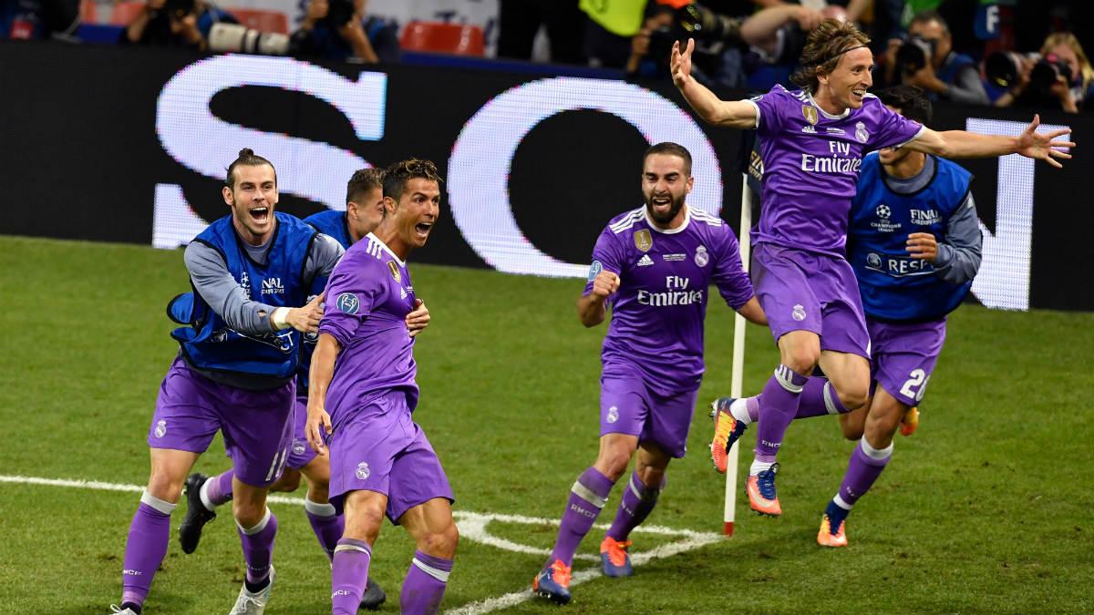 El Real Madrid celebra el segundo gol de Cristiano Ronaldo. (Getty)