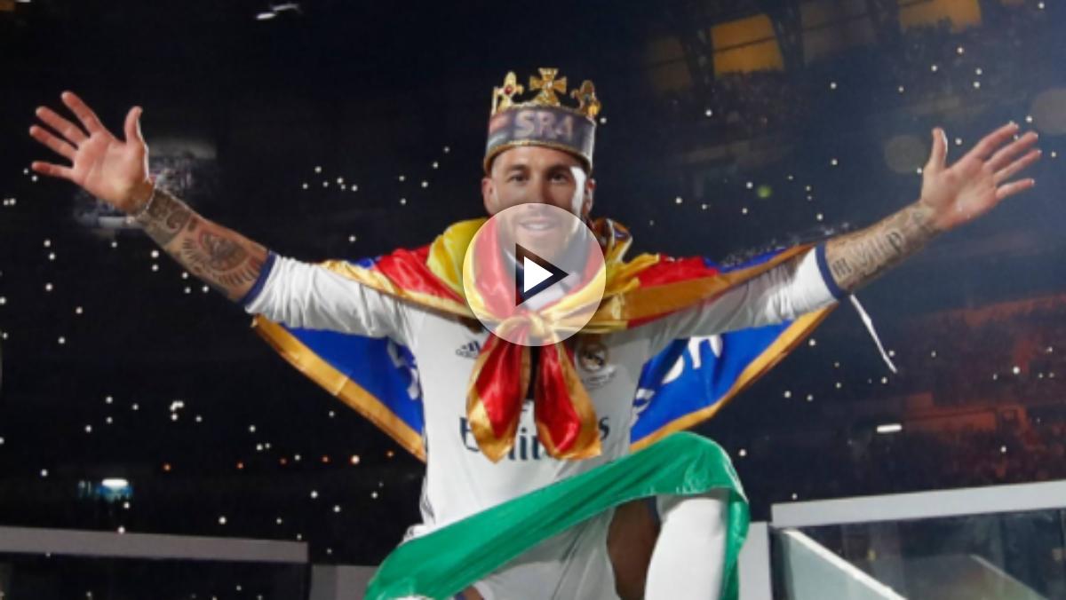 Sergio Ramos se pone una corona cuando saltó con La Duodécima. (AFP)