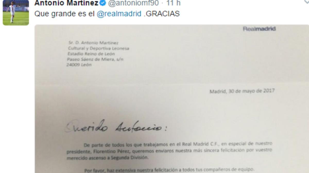 El tweet de Antonio, canterano del Castilla y jugador de la Cultural.