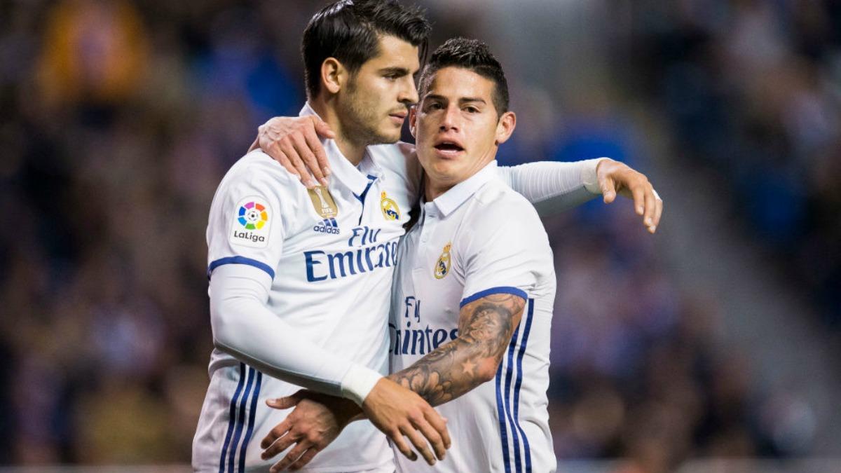 Morata y James celebran un gol del Real Madrid. (Getty Images)