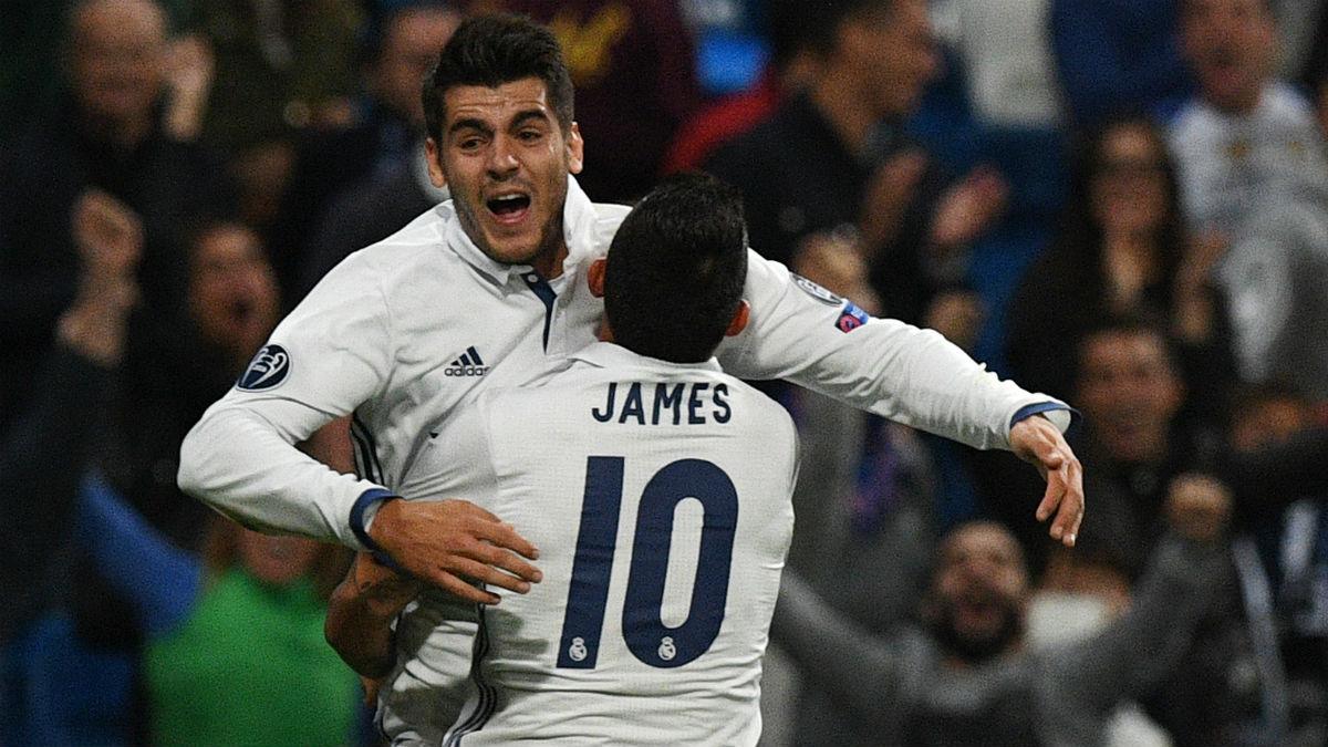 James apoya a Morata y señala a Zidane: «En el Madrid, con pocos minutos, hizo muchos goles»
