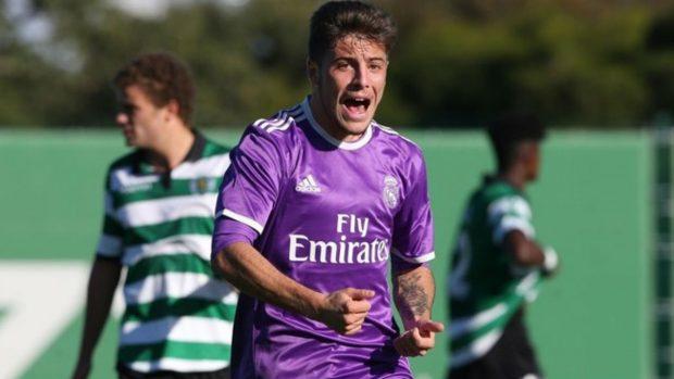 Franchu celebra un gol en la Youth League. (UEFA)