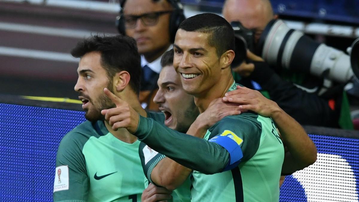 Cristiano Ronaldo celebra su gol a Rusia. (AFP)