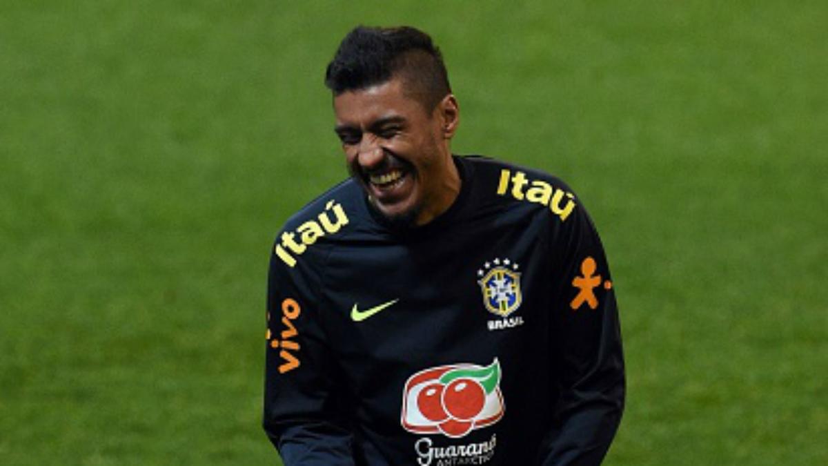 Paulinho en un entrenamiento con la selección brasileña (Getty).