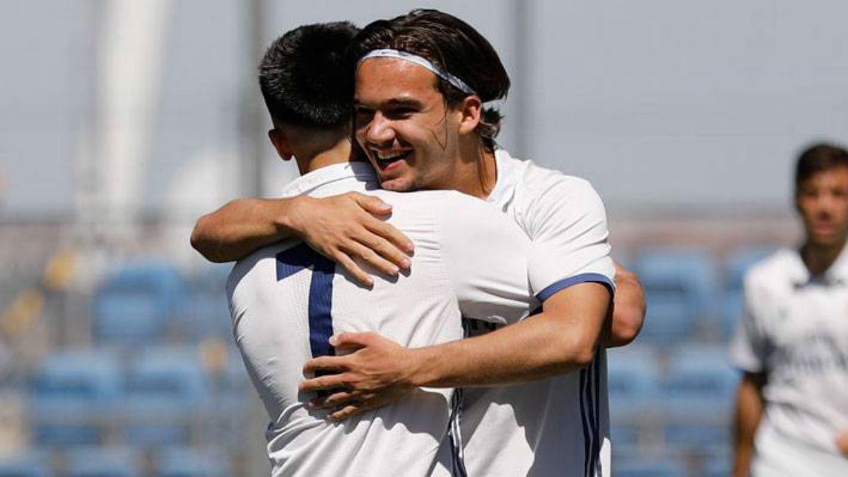 Mink Peeters celebra un gol con el Juvenil A. (realmadrid.com)