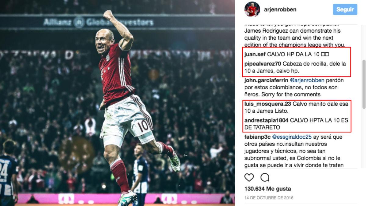 El perfil de Robben fue atacado.