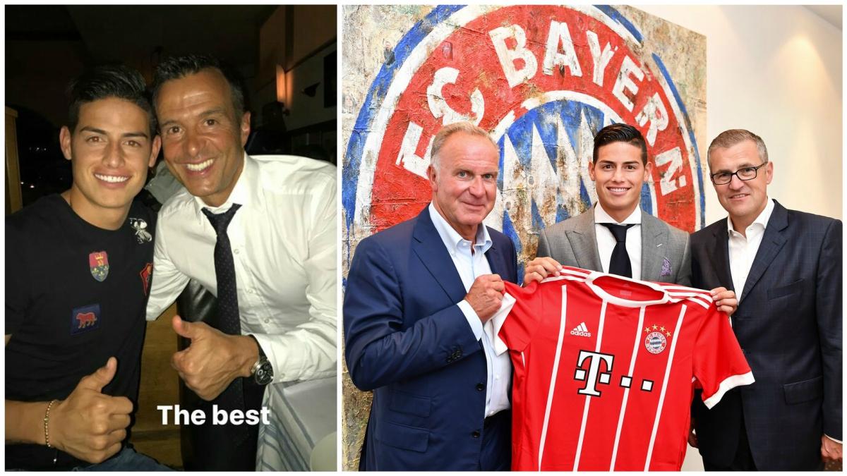 James Rodríguez agradeció a Mendes su fichaje por el Bayern.
