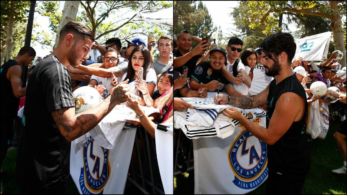 Isco y Theo firman autógrafos en Los Ángeles.