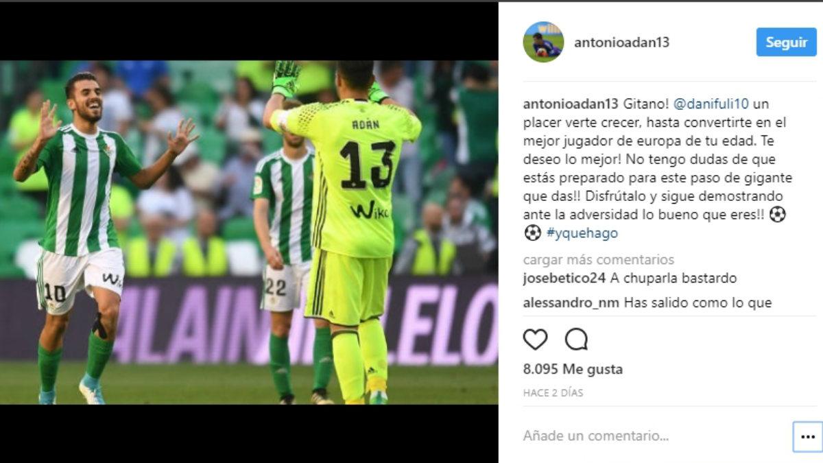 Adán dedicó unas palabras a Ceballos tras su fichaje por el Madrid.