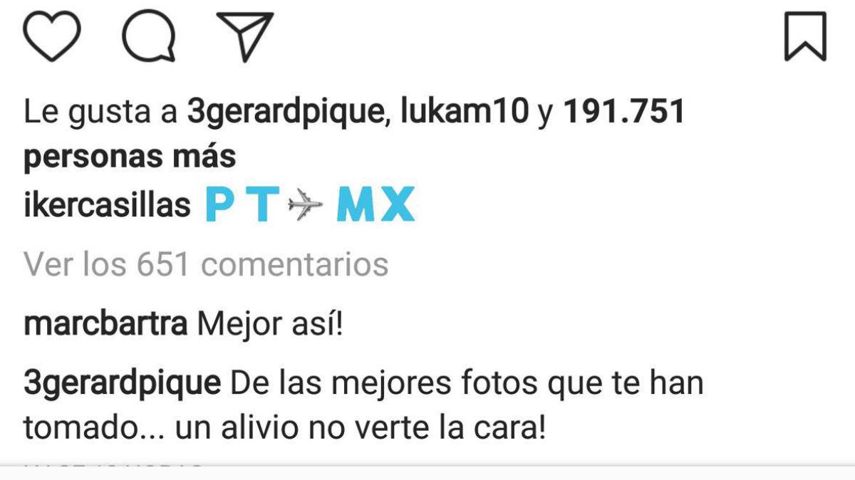 Piqué se mete con Casillas en Instagram.