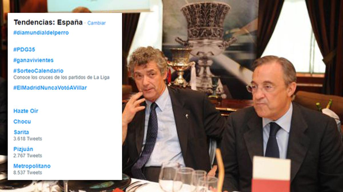 Los aficionados hicieron trending topic el hashtag #ElMadridNuncaVotóaVillar.