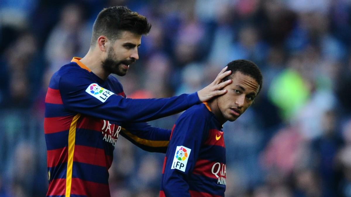 Piqué y Neymar, en un partido del Barcelona. (Getty)