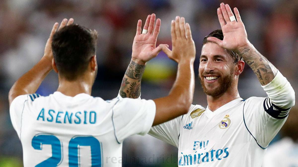 Ramos celebra el gol de Asensio. (realmadrid.com)