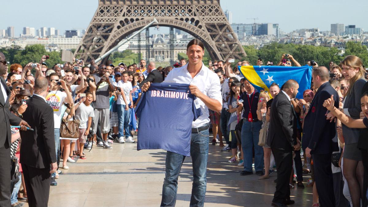 Ibrahimovic ya fue presentado en la plaza del Trocadero. (Getty)