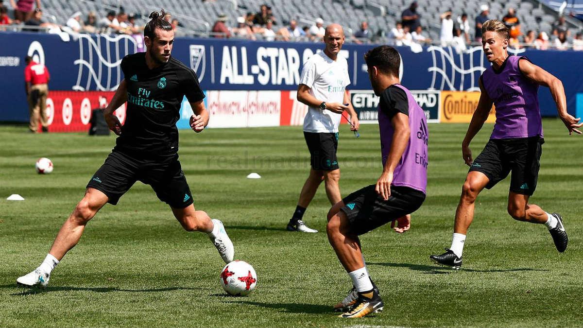 Gareth Bale durante el entrenamiento del Real Madrid en el Soldier Field. (realmadrid.com)