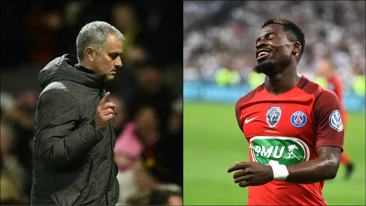 José Mourinho y Serge Aurier. (AFP)