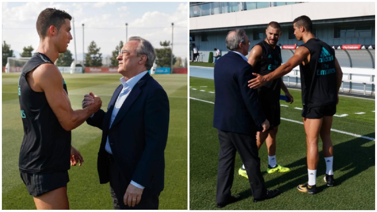 Florentino Pérez saludó a Cristiano Ronaldo en su primer entrenamiento de la temporada.