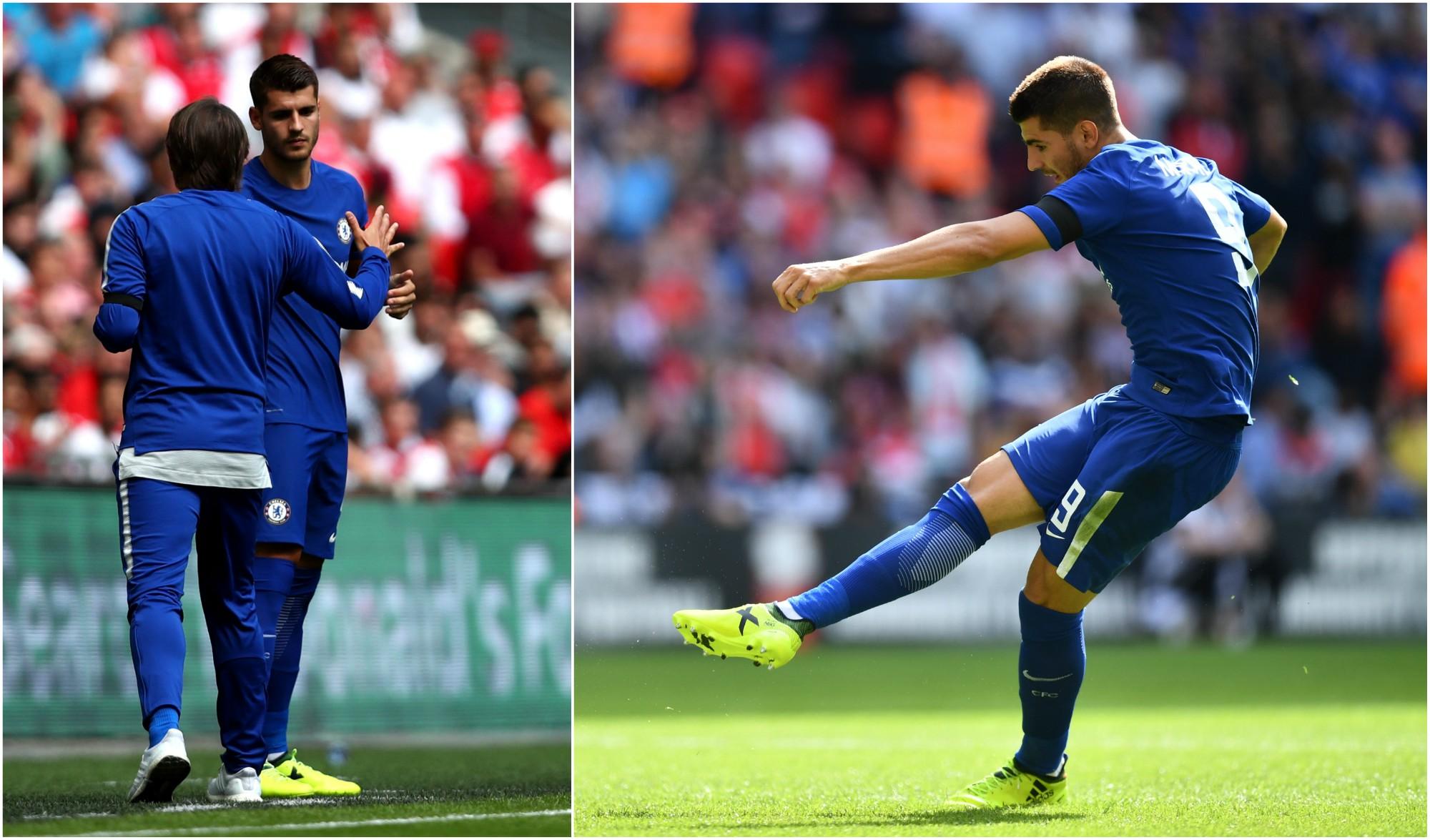 Álvaro Morata, en su debut oficial con el Chelsea. (Getty)