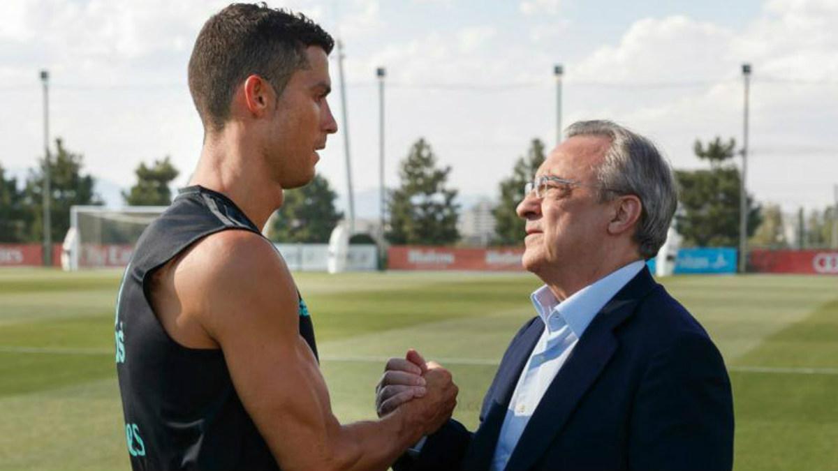 Florentino saluda a Cristiano en Valdebebas. (realmadrid.com)