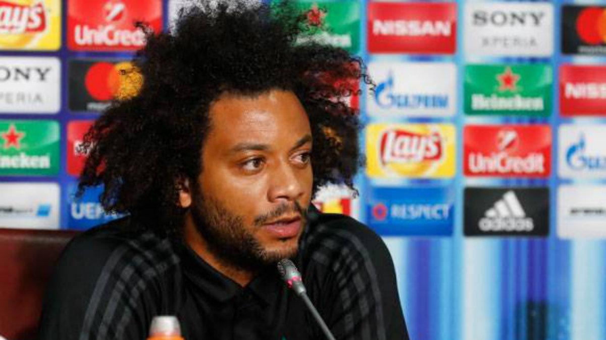 Marcelo, en la rueda de prensa previa al United. (realmadrid.com)