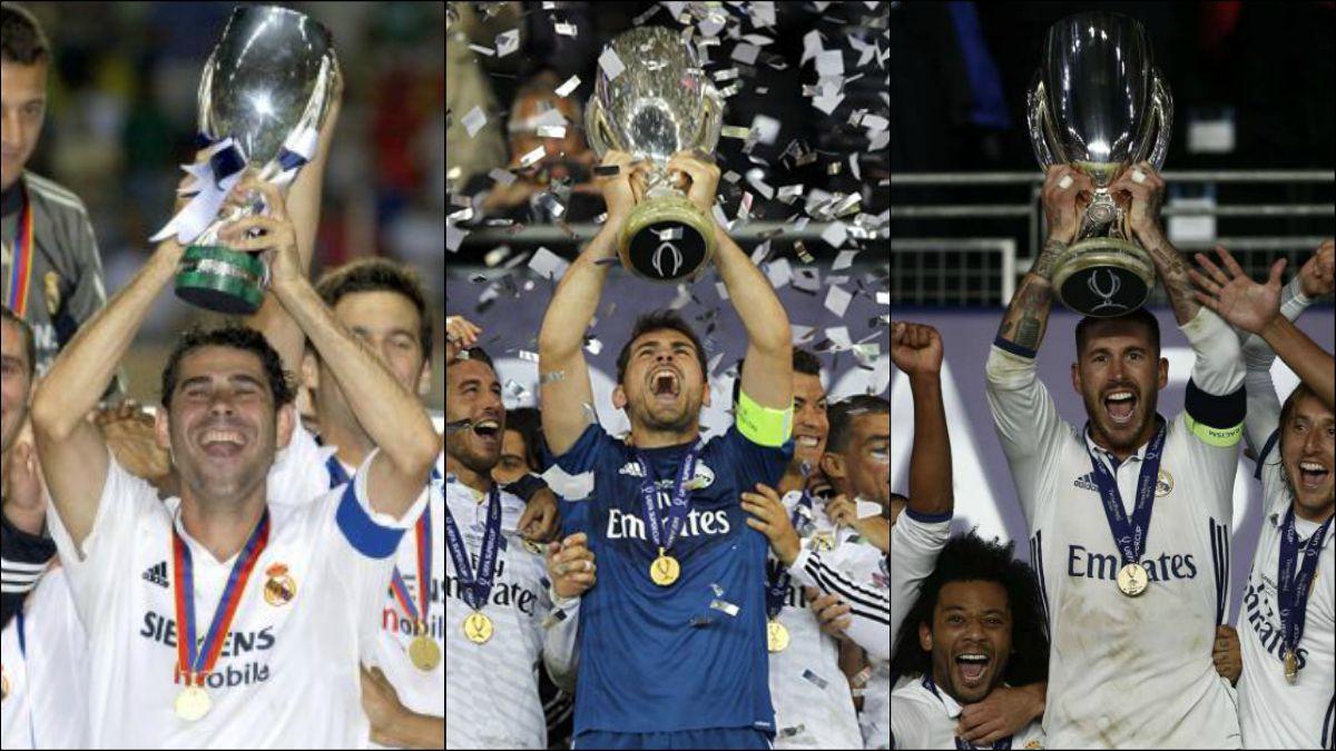 Hierro, Casillas y Ramos, los capitanes que han levantado la Supercopa.