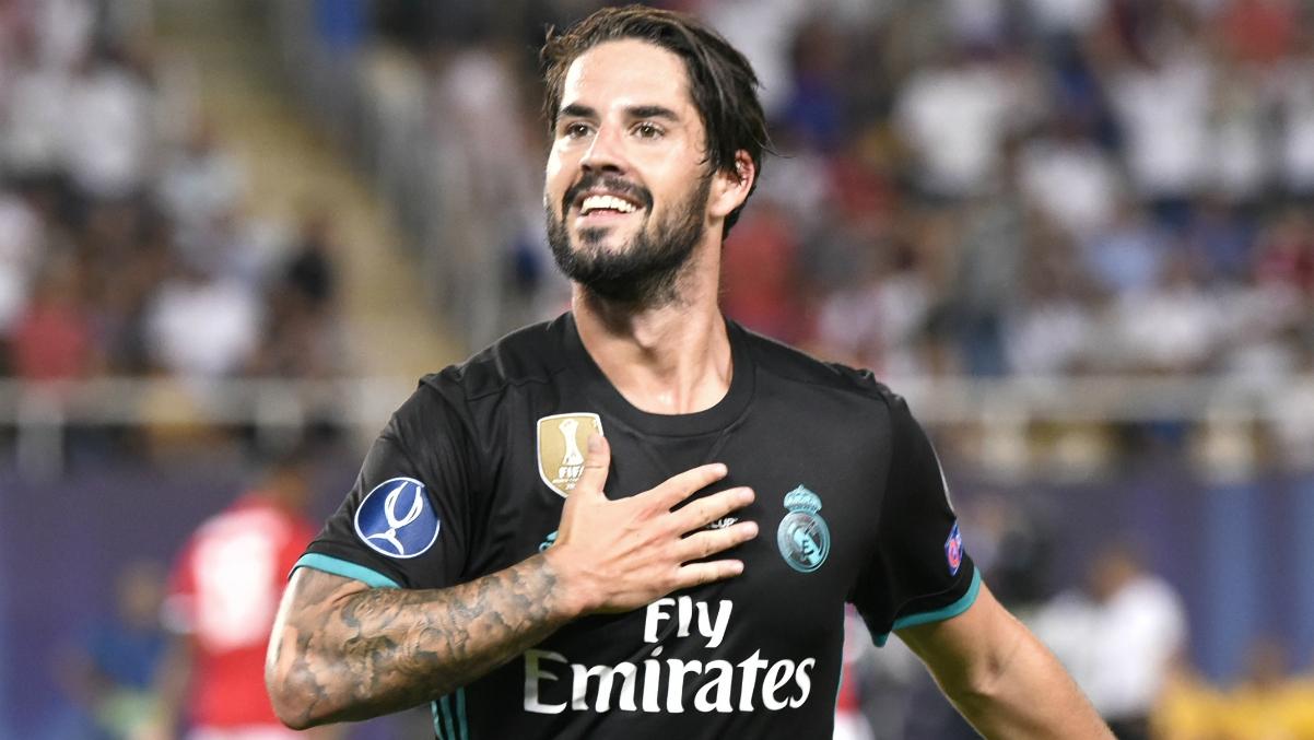 Isco celebra su gol en la Supercopa de Europa. (AFP)