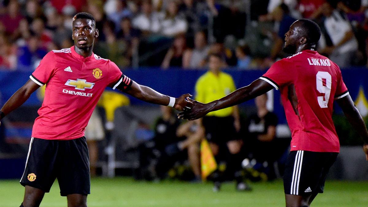 Pogba y Lukaku, en un partido del Manchester United. (Getty)