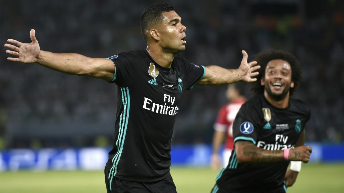 Casemiro celebra el 1-0 para el Madrid. (AFP)