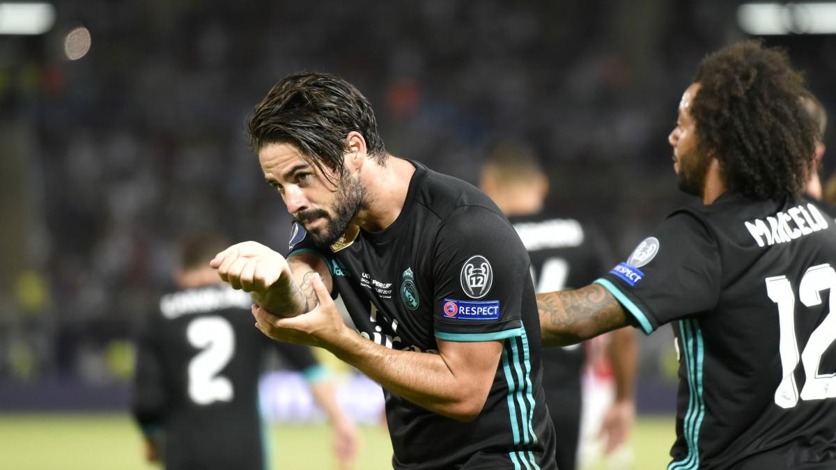 Isco celebra su gol al Manchester United. (AFP)