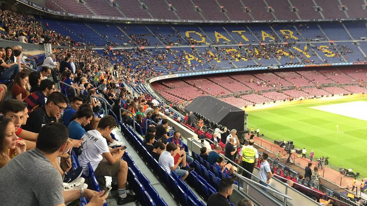 Las gradas del Camp Nou, en el reciente homenaje al Dream Team.