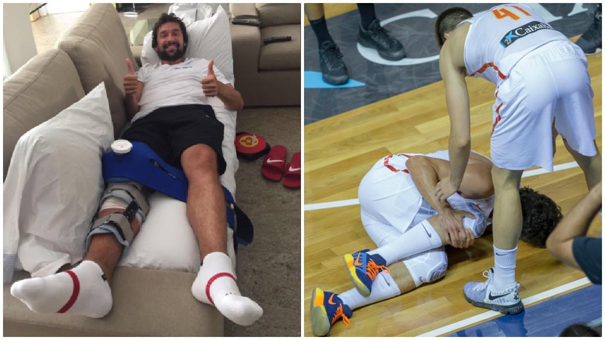 Sergio Llull posa en su sofá de casa tras su operación de rodilla.