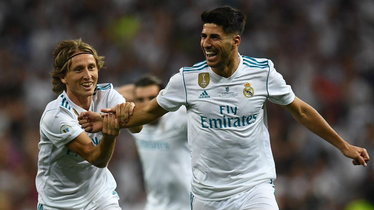 Asensio celebra su golazo al Barcelona. (AFP)
