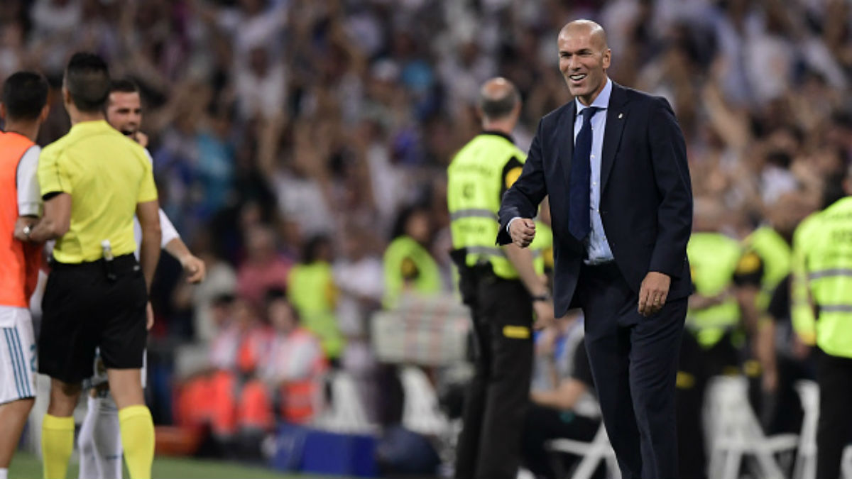 Zidane celebró asombrado el gol de Marco Asensio (Getty).