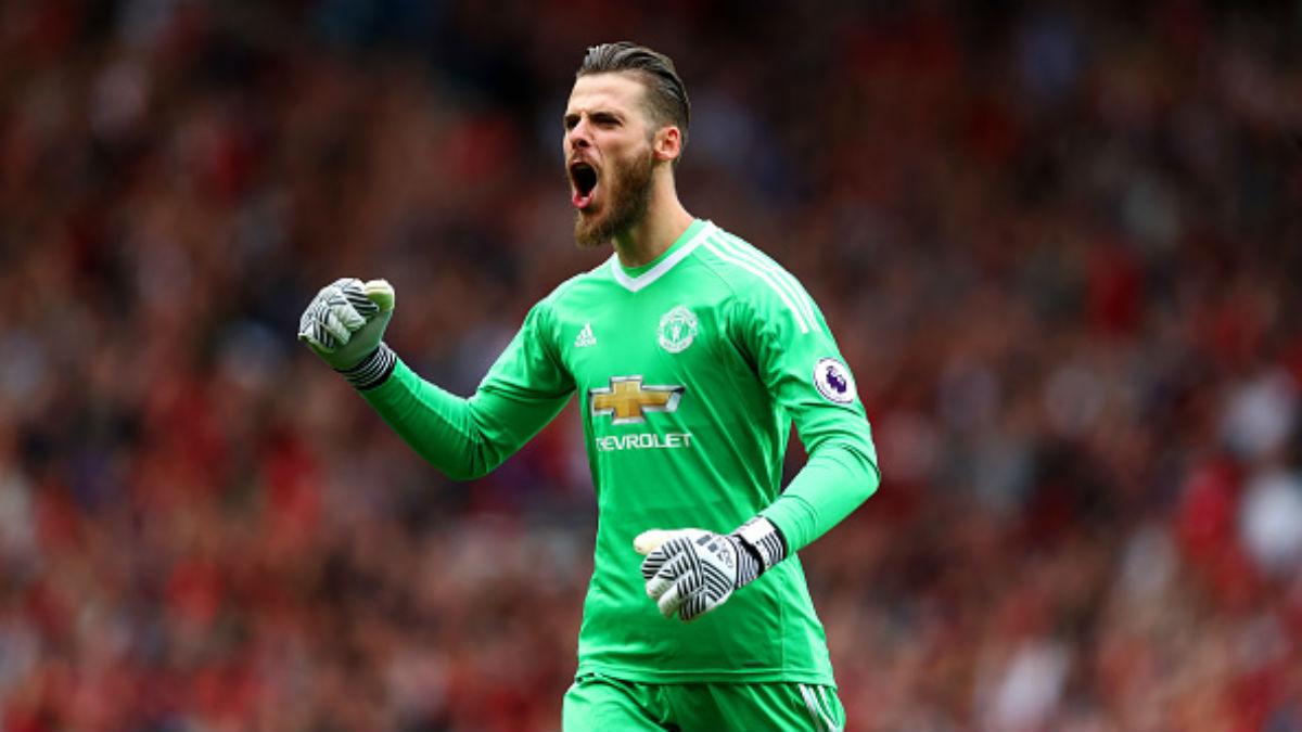 David de Gea celebra un gol del United. (Getty).