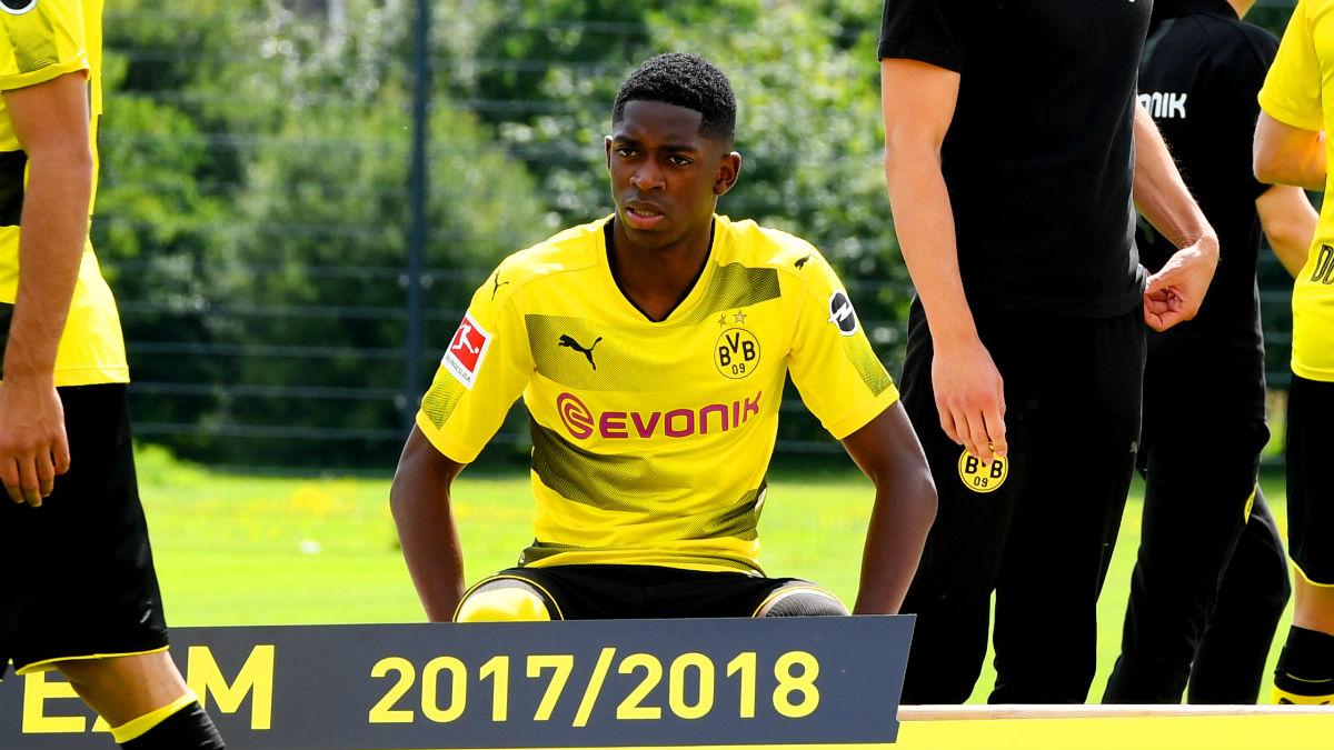 Dembélé, en el Media Day del Borussia Dortmund. (AFP)