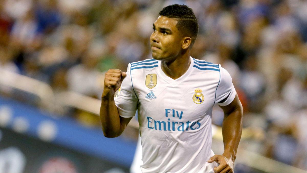 Casemiro celebra su gol ante el Deportivo. (AFP)