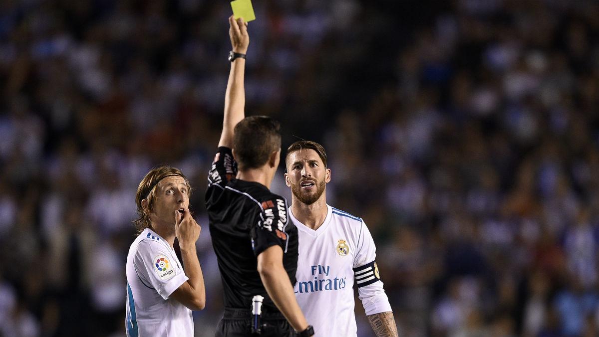 Sergio Ramos fue expulsado en Riazor. (Getty)