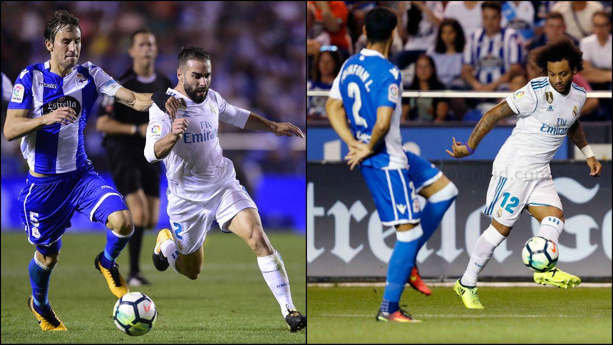 Carvajal y Marcelo fueron titulares en Riazor.