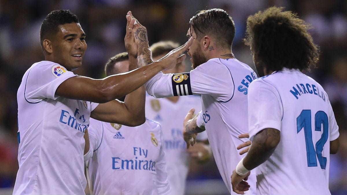 Casemiro celebra su gol al Deportivo. (AFP)