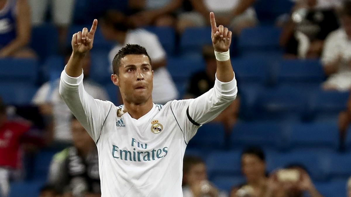 Cristiano Ronaldo celebra su golazo al Real Madrid. (EFE)