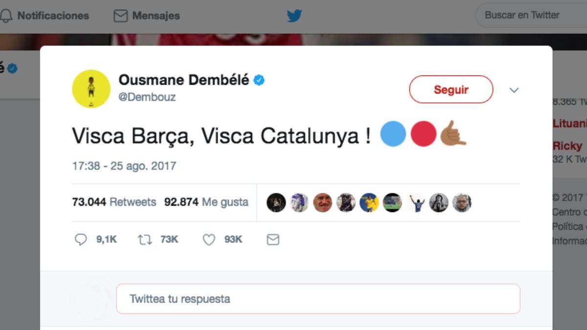 El primer tuit de Dembélé tras fichar por el Barça.
