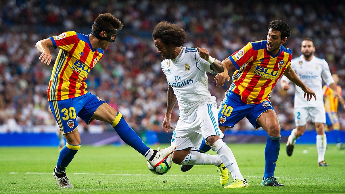 Marcelo, en el momento del penalti no pitado de Parejo.