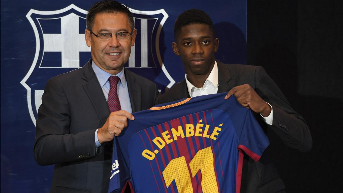 Dembelé durante su presentación con el Barcelona. (AFP)