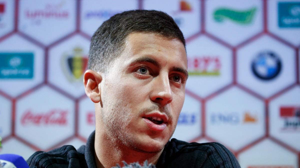 Hazard, en una rueda de prensa con Bélgica. (Getty)
