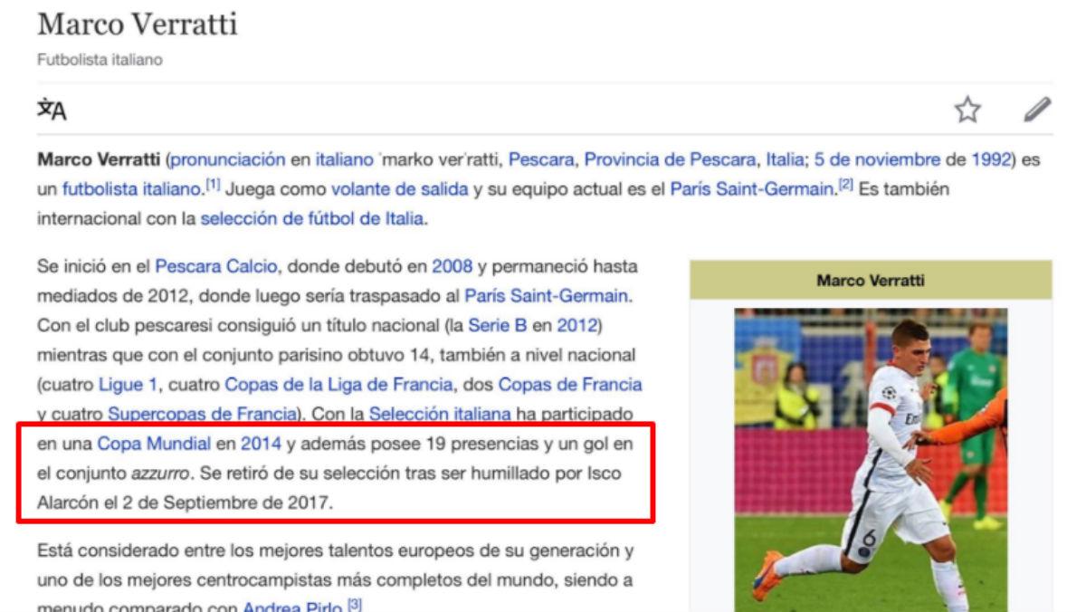 Hackean el perfil de Verratti en la Wikipedia y le retiran tras la humillación de Isco