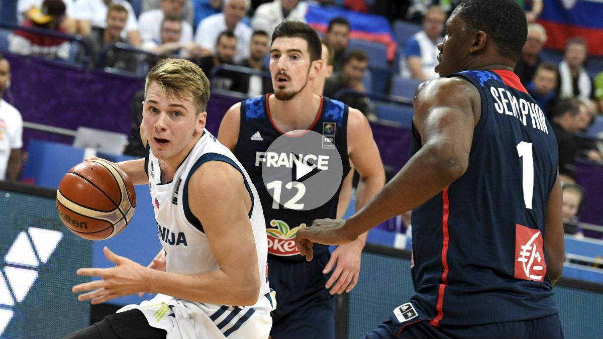 Luka Doncic dominó a Francia con 15 puntos y 9 rebotes.