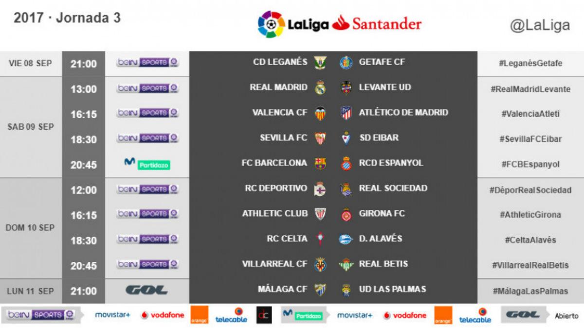 Horarios de la jornada 3 de la Liga Santander. (LaLiga)